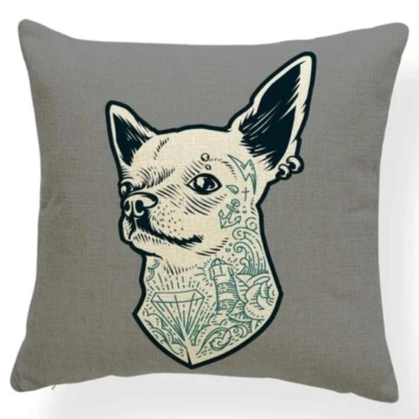 Image of a chihuahua cushion cover printed with with tattoos and earrings design on a grey background, made of Polyester / Linen / Cotton