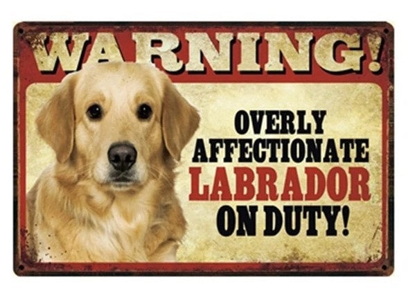 Image of a tin poster with a similar Yellow Labrador and text which says 'Warning overly affectionate Yellow Labrador on duty'