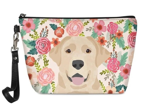 Image of a Yellow Labrador in bloom makeup bag with a cutest yellow labrador with a floral background, made of PU