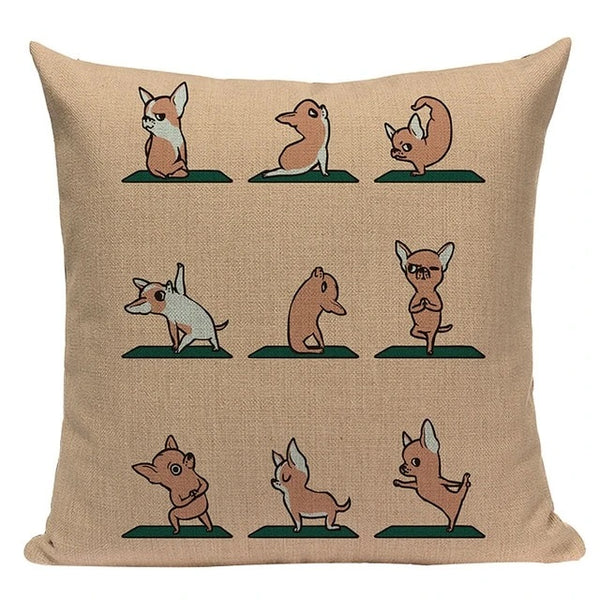 Image of a different poses yoga design chihuahua cushion cover made of Linen / Cotton