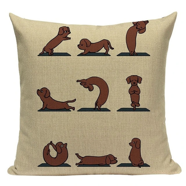 Image of a different poses yoga design dachshund cushion cover made of Linen / Cotton