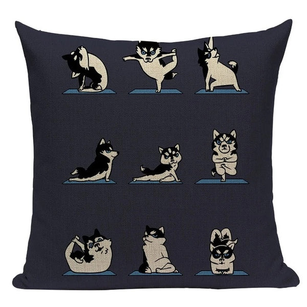 Image of different poses yoga design husky cushion cover made of Linen / Cotton