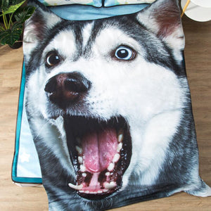 Doggo Shaped Warm Throw BlanketHome DecorHusky YawningSmall
