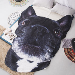 Doggo Shaped Warm Throw BlanketHome DecorBlack French BulldogLarge