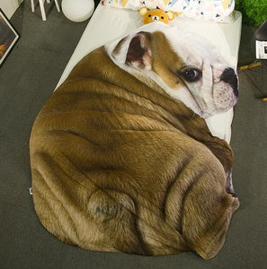 Doggo Shaped Warm Throw BlanketHome DecorEnglish Bulldog Back ProfileLarge