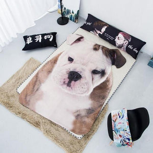Doggo Shaped Warm Throw BlanketHome DecorEnglish Bulldog Front ProfileLarge