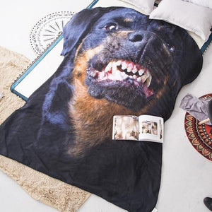 Doggo Shaped Warm Throw BlanketHome DecorGrowling RottweilerLarge