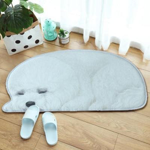 3D Sleeping Dog Shape Floor Mat Mat iLoveMy.Pet Bichon Frise 2.8 x 1.3 feet