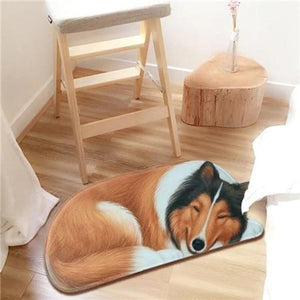 3D Sleeping Dog Shape Floor Mat Mat iLoveMy.Pet Collie 2.8 x 1.3 feet