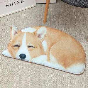 3D Sleeping Dog Shape Floor Mat Mat iLoveMy.Pet Corgi 2.8 x 1.3 feet
