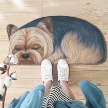 Load image into Gallery viewer, Sleeping Dogs Shaped Doormat / Floor RugMatYorkshire Terrier / YorkieSmall