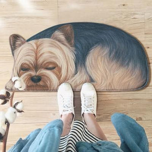Sleeping Dogs Shaped Doormat / Floor RugMatYorkshire Terrier / YorkieSmall