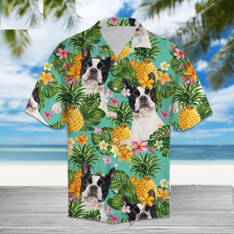 Boston Terrier Love Hawaiian Mens Shirt