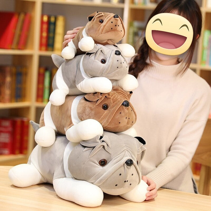English Bulldog Love Huggable Stuffed Animal Plush Toys (Small to Giant size)