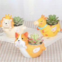 Load image into Gallery viewer, Cutest Corgi on Belly with Angel Wings Love Succulent Plants Flower Pot