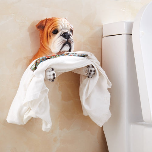 Red / Fawn English Bulldog Love Toilet Roll Holder