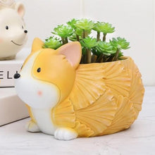 Load image into Gallery viewer, Corgi on Belly with Leaf Design Love Succulent Plants Flower Pot