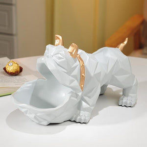 Abstract English Bulldog Tabletop OrganiserHome DecorLight Grey