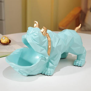 Abstract English Bulldog Tabletop OrganiserHome DecorSky Blue