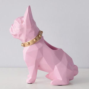 Abstract French Bulldog Table Top Pen or Pencil HolderHome DecorPink