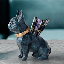 Load image into Gallery viewer, Abstract French Bulldog Table Top Pen or Pencil HolderHome DecorTextured Blue