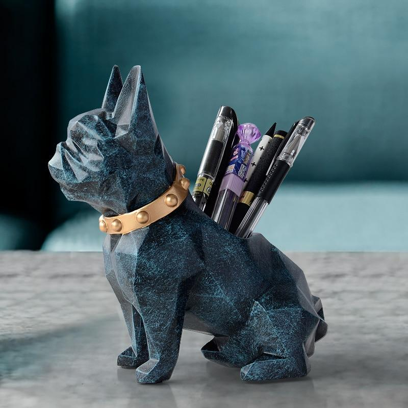 Abstract French Bulldog Table Top Pen or Pencil HolderHome DecorTextured Blue