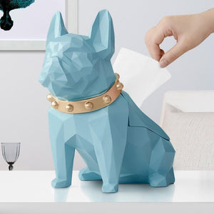 Abstract Frenchie Decorative Resin Tissue BoxHome DecorLight Blue