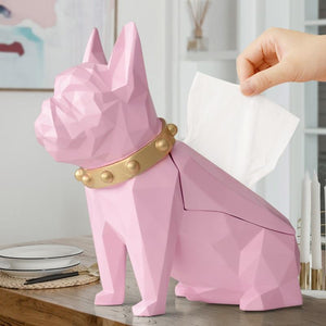 Abstract Frenchie Decorative Resin Tissue BoxHome DecorPink