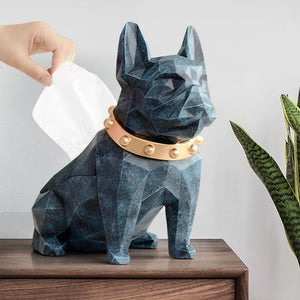 Abstract Frenchie Decorative Resin Tissue BoxHome DecorTexture Blue