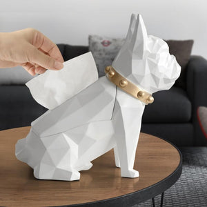 Abstract Frenchie Decorative Resin Tissue BoxHome DecorWhite