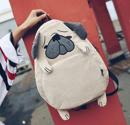 Adorable Pug Corduroy BackpackBag