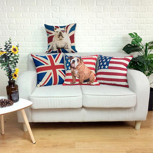 All American and British English Bulldogs Cushion CoversCushion Cover