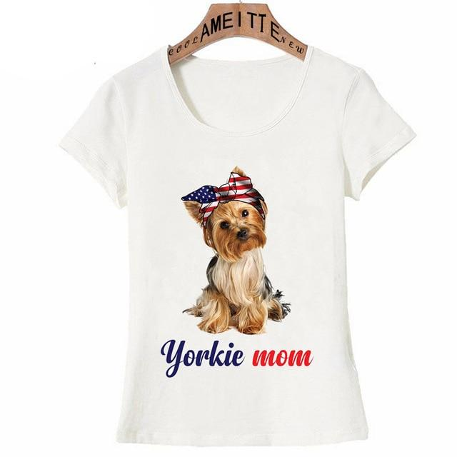All American Yorkie Mom Womens T ShirtApparelWhiteXXXL