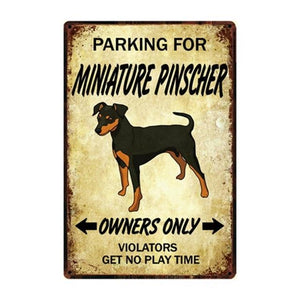 American Pit Bull Love Reserved Parking Sign BoardCarMiniature PinscherOne Size