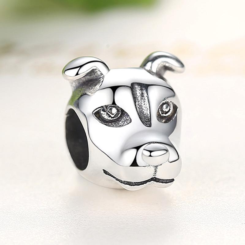 American Staffordshire Bull Terrier Silver Charm BeadDog Themed JewelleryStyle 1