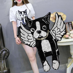 Angel Boston Terrier Sequined Handmade PatchPatch