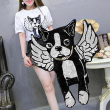 Load image into Gallery viewer, Angel Boston Terrier Sequined Handmade PatchPatch