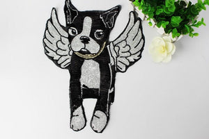 Angel French Bulldog Sequinned Handmade Patch