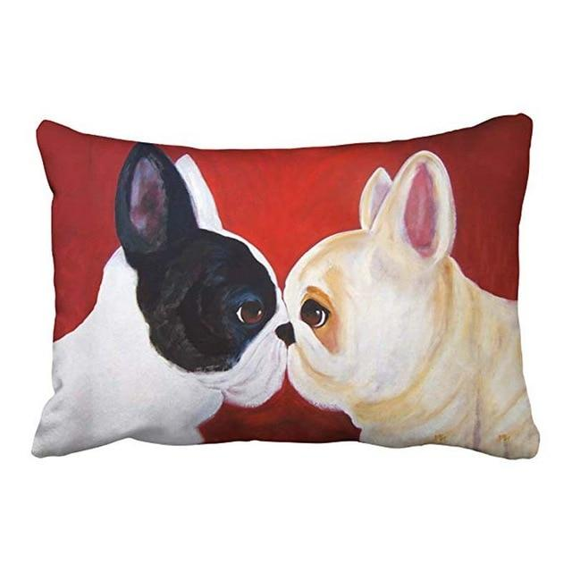 Artistic French Bulldogs Queen Size Rectangular Large Cushion Cover - Series 1Cushion CoverFrench BulldogsOne Size