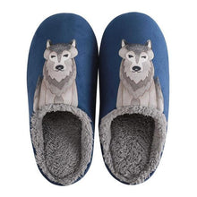Load image into Gallery viewer, Artistic Husky Love Warm Indoor SlippersSlippersNavy9.5