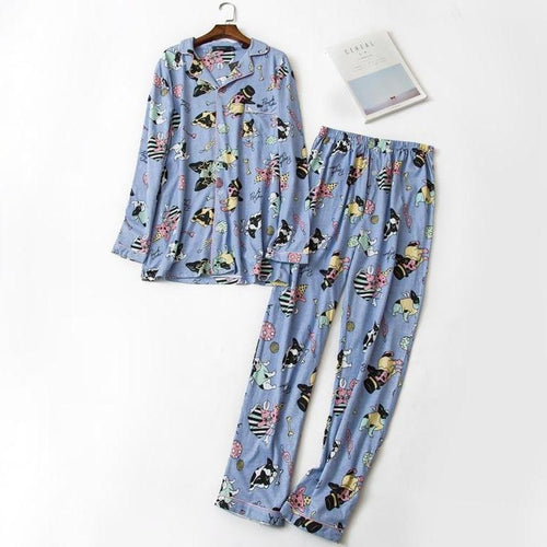 Baby Boston Terrier 100% Cotton Pajama SetPajamasBlueM