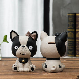 Baby Boston Terrier and Frenchie Table Top Piggy Bank OrnamentHome Decor