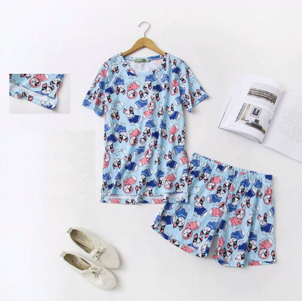 Image of a French Bulldog Themed Womens Sleeping Set for Summer