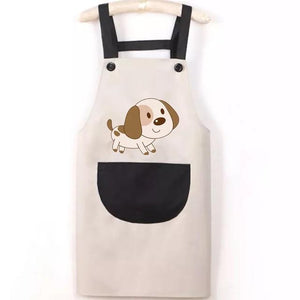 Beagle Love Kitchen ApronHome DecorWhite with Black Pocket