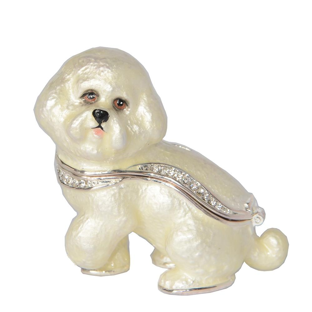 Beautiful Bichon Frise Love Small Jewellery Box FigurineHome Decor