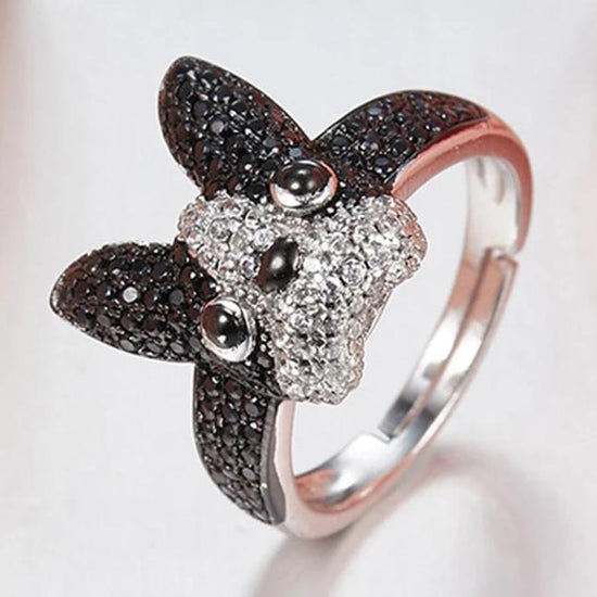 A close up image of a French Bulldog Jewellery Silver Ring