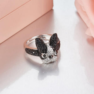 Beautiful Boston Terrier / French Bulldog Silver RingRing