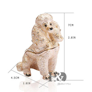 Beautiful Poodle Love Small Jewellery Box FigurineHome Decor