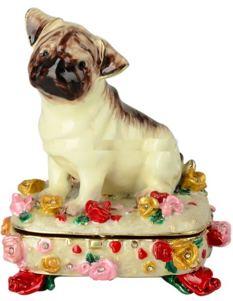Beautiful Pug Love Small Jewellery Box FigurineHome Decor