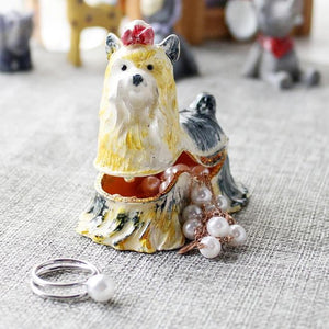 Beautiful Yorkshire Terrier Love Small Jewellery Box FigurineHome Decor